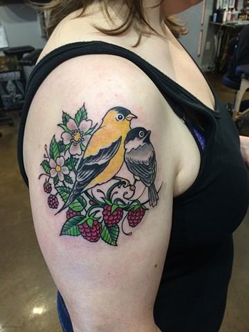 Raspberry, nest, golden finch, chickadee, birds, love, Provincetown tattoo, Cape Cod tattoo, Ptown tattoo, truro, wellfleet, custom tattoo, coastline tattoo