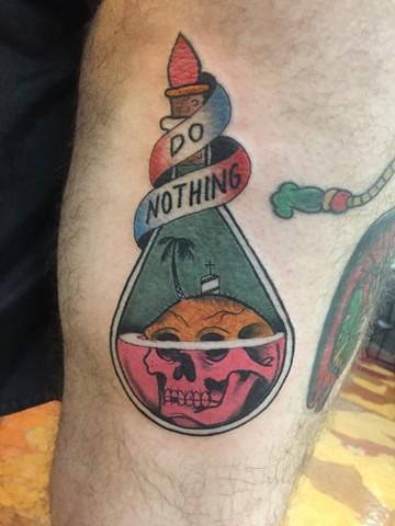 apothecary jar tattoo, skull tattoo, island tattoo, Provincetown tattoo, Cape Cod tattoo, Ptown tattoo, truro, wellfleet, custom tattoo, coastline tattoo