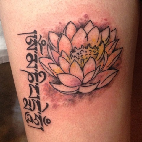 Lotus and Mantra Tattoo, Provincetown tattoo, Cape Cod tattoo, Ptown tattoo, truro tattoo, wellfleet tattoo, custom tattoo, coastline tattoo