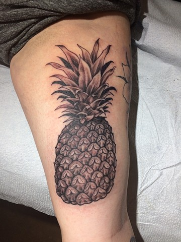pineapple tattoo, black and gray tattoo, Provincetown tattoo, Cape Cod tattoo, Ptown tattoo, truro, wellfleet, custom tattoo, coastline tattoo
