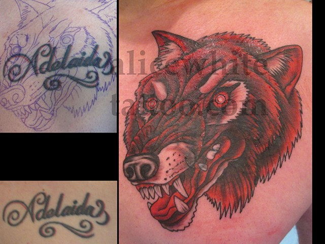 Alice White - red wolf, custom tattoo, Provincetown tattoo, Cape Cod tattoo, Coastline tattoo, Ptown tattoo