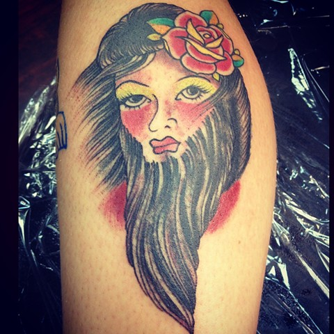 Dave Steele - bearded woman tattoo,  Provincetown tattoo, Cape Cod tattoo, Ptown tattoo, truro tattoo, wellfleet tattoo, custom tattoo, coastline tattoo