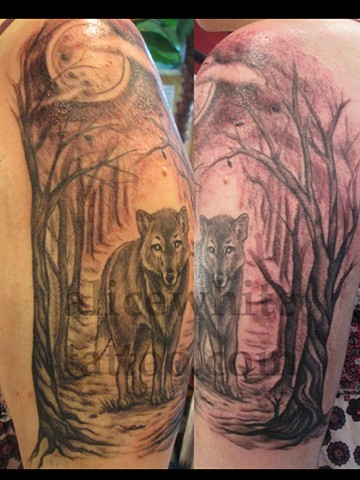 Alice White - wolf in the woods, black and grey, Provincetown tattoo, Cape Cod tattoo, Ptown tattoo, truro tattoo, wellfleet tattoo, custom tattoo, coastline tattoo