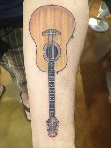 acoustic guitar, Provincetown tattoo, Cape Cod tattoo, Ptown tattoo, truro tattoo, wellfleet tattoo, custom tattoo, coastline tattoo
