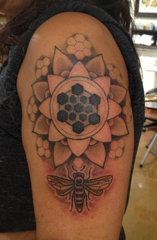 mandala bee beehive, black and grey, Provincetown tattoo, Cape Cod tattoo, Ptown tattoo, truro tattoo, wellfleet tattoo, custom tattoo, coastline tattoo