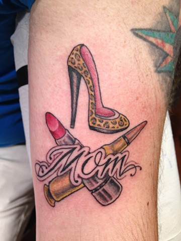mom tribute, high heels, lipstick, ak47, bullet, Provincetown tattoo, Cape Cod tattoo, Ptown tattoo, truro tattoo, wellfleet tattoo, custom tattoo, coastline tattoo