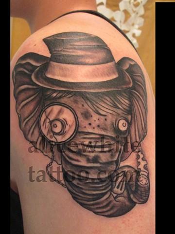 Alice White - gentleman elephant, custom tattoo, Provincetown tattoo, Cape Cod tattoo, Coastline tattoo, Ptown tattoo