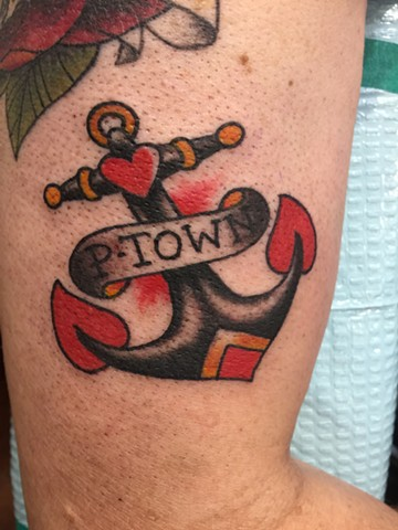 anchor tattoo, nautical tattoo, Provincetown tattoo, Cape Cod tattoo, Ptown tattoo, truro, wellfleet, custom tattoo, coastline tattoo