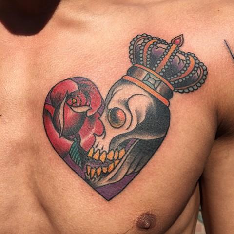 rose tattoo, heart tattoo, skull tattoo, king tattoo, traditional tattoo, Provincetown tattoo, Cape Cod tattoo, Ptown tattoo, truro, wellfleet, custom tattoo, coastline tattoo