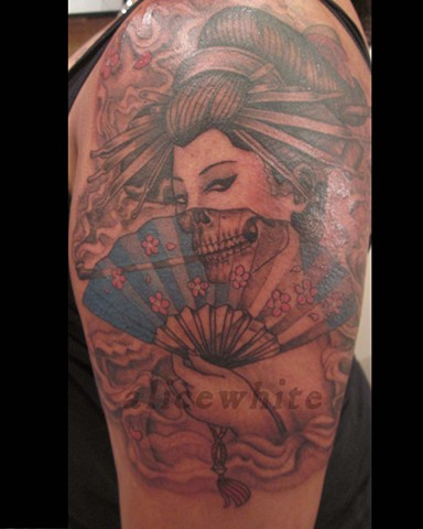 Alice White - Skeleton Geisha tattoo, Provincetown tattoo, Cape Cod tattoo, Ptown tattoo, truro tattoo, wellfleet tattoo, custom tattoo, coastline tattoo