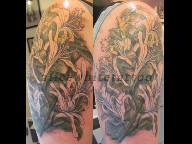Alice White - Honeysuckle Tattoo, flower tattoo, floral tattoo, Provincetown tattoo, Cape Cod tattoo, Ptown tattoo, truro tattoo, wellfleet tattoo, custom tattoo, coastline tattoo