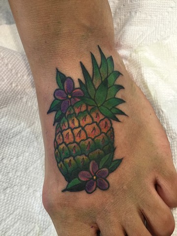 Pineapple, fruit, tropical, colorful, cute, Provincetown tattoo, Cape Cod tattoo, Ptown tattoo, truro, wellfleet, custom tattoo, coastline tattoo