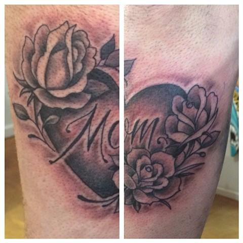 mom tattoo, heart tattoo, rose tattoo black and gray tattoo, Provincetown tattoo, Cape Cod tattoo, Ptown tattoo, truro, wellfleet, custom tattoo, coastline tattoo