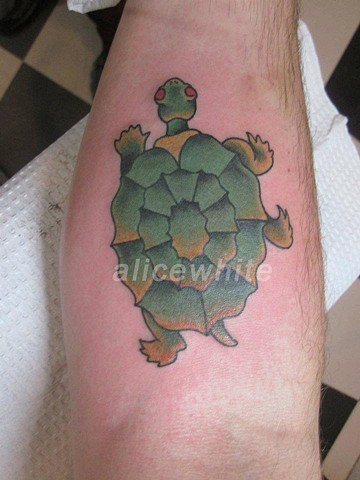 Alice White - Traditional turtle tattoo, Provincetown tattoo, Cape Cod tattoo, Ptown tattoo, truro tattoo, wellfleet tattoo, custom tattoo, coastline tattoo