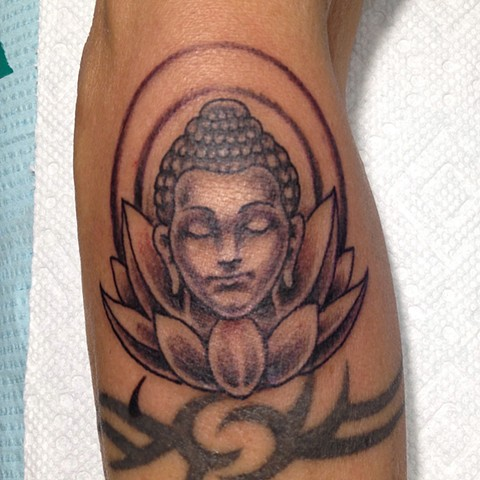 Buddha and Lotus tattoo, black and grey tattoo, Provincetown tattoo, Cape Cod tattoo, Ptown tattoo, truro tattoo, wellfleet tattoo, custom tattoo, coastline tattoo