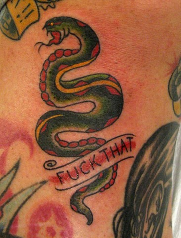 Charles Rouse - traditional snake tattoo,  Provincetown tattoo, Cape Cod tattoo, Ptown tattoo, truro tattoo, wellfleet tattoo, custom tattoo, coastline tattoo