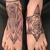 feet - sacred geometry, black and grey, custom tattoo, Provincetown, Cape Cod, Coastline, Ptown