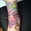 pink octopus, cartoon, custom tattoo, Provincetown, Cape Cod, Coastline, Ptown