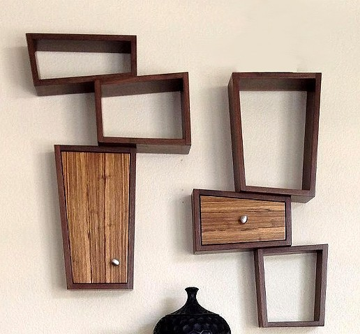 Walnut and zebra wood hanging shelves by Kyle Dallman