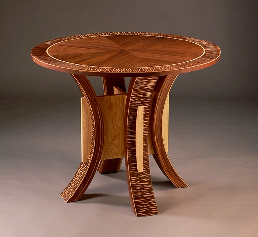 Custom breakfast table with hand carved textural effect handmade by Kyle Dallman