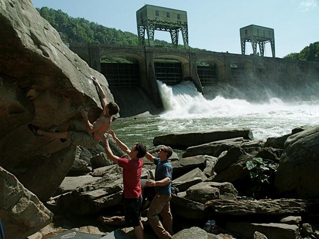 Boys bouldering at Hawk's Nest Dam