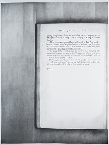 Molly Springfield graphite drawing text marginalia conceptual art susan sontag