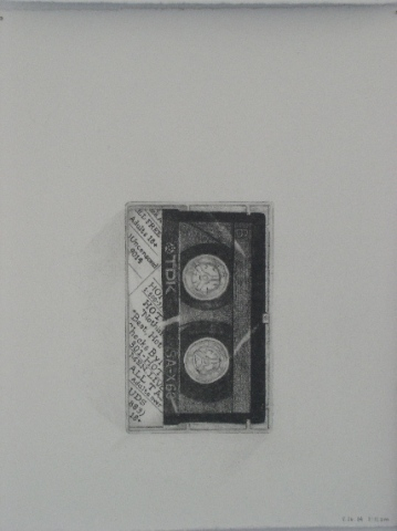 graphite drawing cassette tape by Molly Springfield