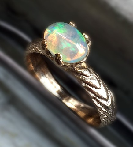 Ethiopian Opal Egg, Gold Claw Ring, Jewelry by Jennifer Tull Westberg