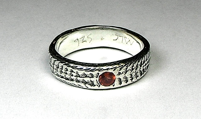 thin silver snakeskin garnet dot ring