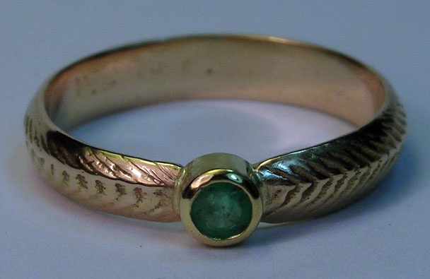 emerald feather ring