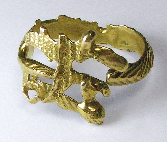gold cuttlefish cast ring