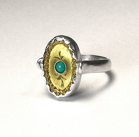 gold/silver turquoise ring