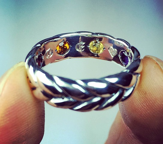 "Rex's ""Hidden Stone""  thick braid wedding ring. View 2"