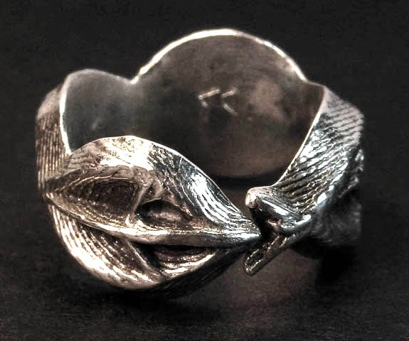 sterling silver cuttlefish vessel ring