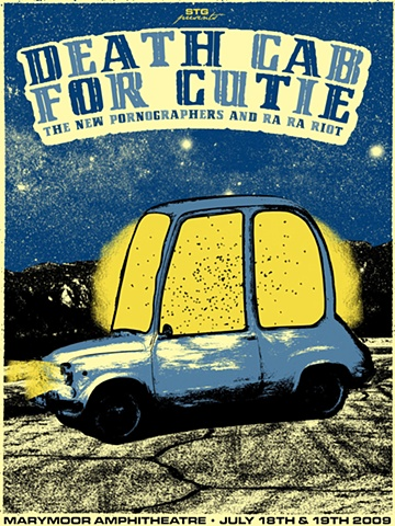 death cab for cutie marymore park silk screen poster nat damm