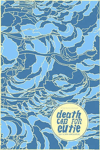death cab for cutie silk screen poster nat damm memorial coliseum