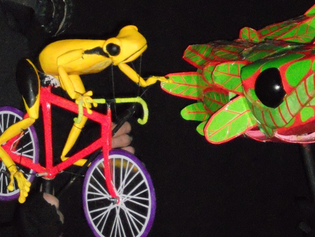 close up of Bike Frog Puppet and Quetzal