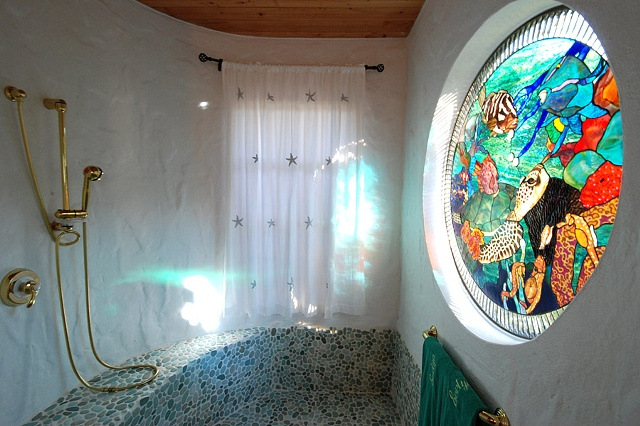 Artisan shower with custom stained glass, FL