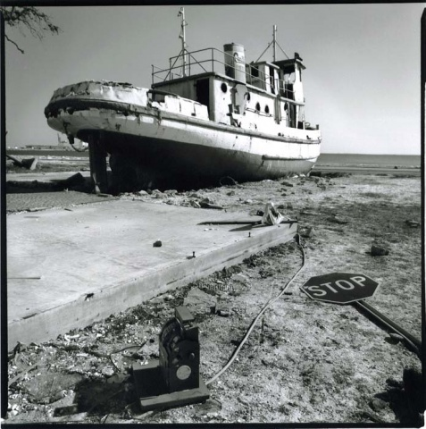 beached boat, Biloxi MS