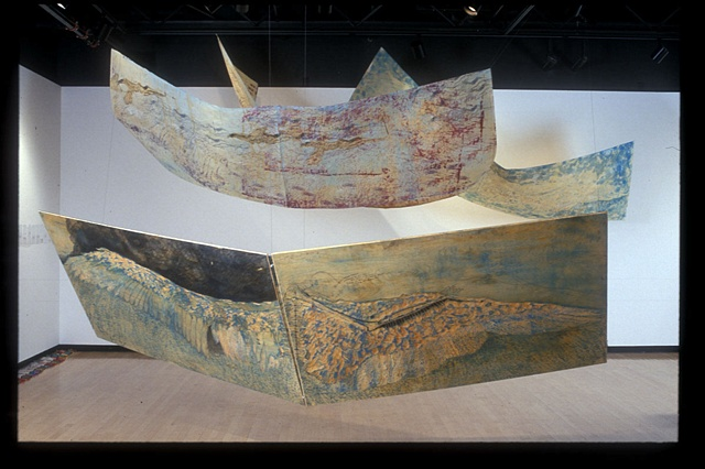 woodcut and screenprint, pelican wings,  scuptural installation  by jill Fitterer