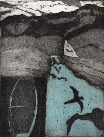 etching, chine colle, printmaking, Southwest Idaho foothills, Snake RIver birds of Prey, Canyon