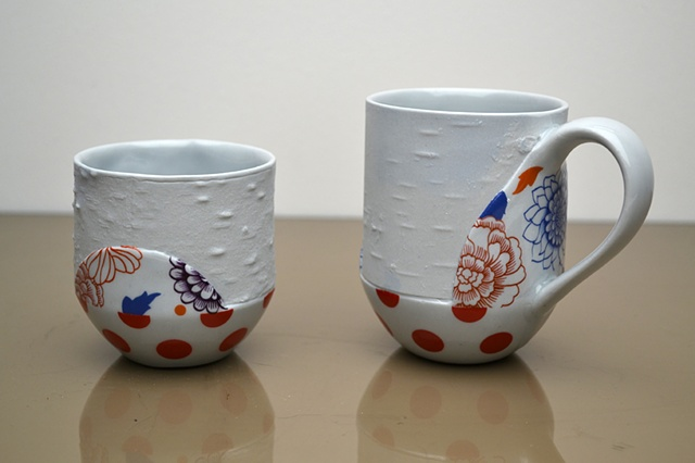 BLUE BIRCH DOT CUPS