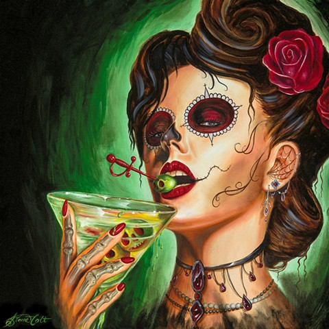 Day of the dead, skull, martini