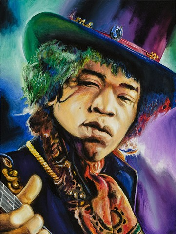 Jimmy Hendrix, oil, painting