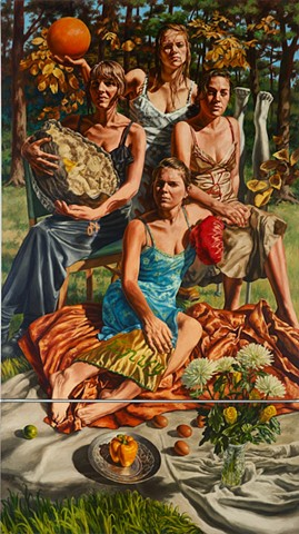 2 panel oil on canvas painting of 4 women
