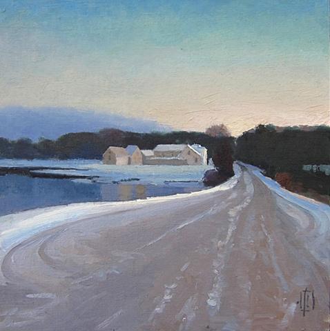 Damon's Point, Marshfield, snow scene