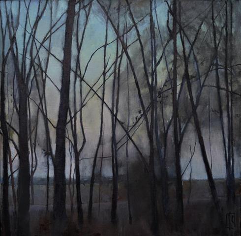 Copse of trees in late winter, Summer Street, Marshfield Hills, MA