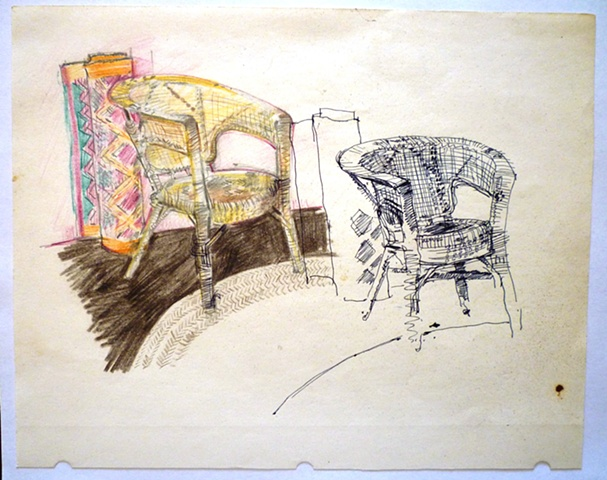 Cane chair & rugs