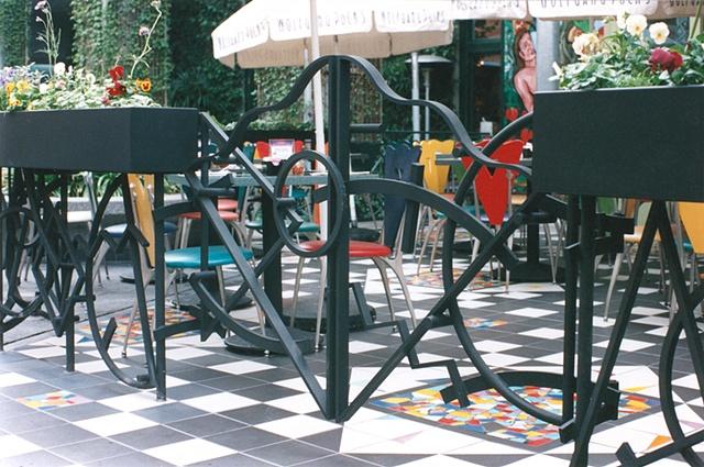 Gates: Restaurant railing w/ planters Universal Citywalk  Hollywood Ca.