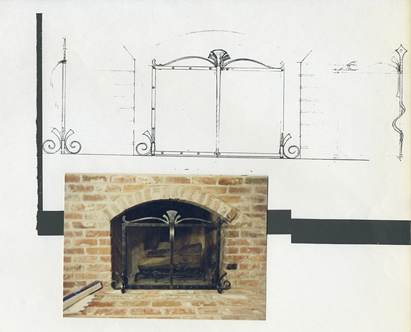 Fireplace grill design (Ironwork by others)